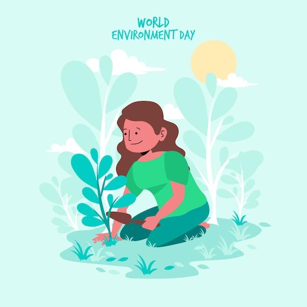 Płaska Konstrukcja Koncepcja Imprezy światowy Dzień środowiska Darmowych Wektorów