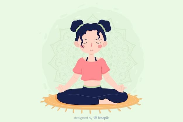 Płaska konstrukcja koncepcja medytacji dla stron docelowych Darmowych Wektorów