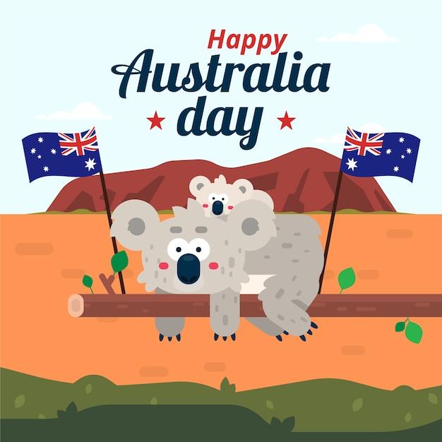 Płaska Konstrukcja Koncepcja Na Dzień Australii Darmowych Wektorów