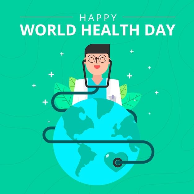 Płaska Konstrukcja Koncepcja światowego Dnia Zdrowia Darmowych Wektorów