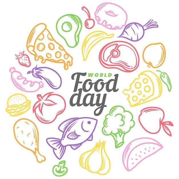 Płaska Konstrukcja Koncepcja światowego Dnia żywności Premium Wektorów