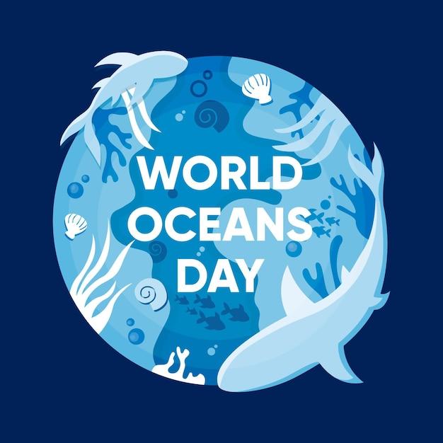Płaska Konstrukcja Koncepcja światowy Dzień Oceanów Darmowych Wektorów