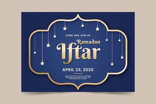 Płaska Konstrukcja Koncepcja Szablon Zaproszenia Iftar Darmowych Wektorów
