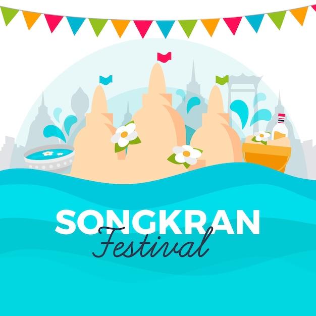 Płaska Konstrukcja Koncepcji Songkran Darmowych Wektorów