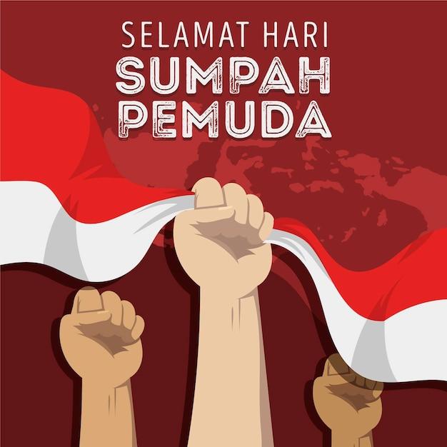 Płaska Konstrukcja Koncepcji Sumpah Pemuda Premium Wektorów