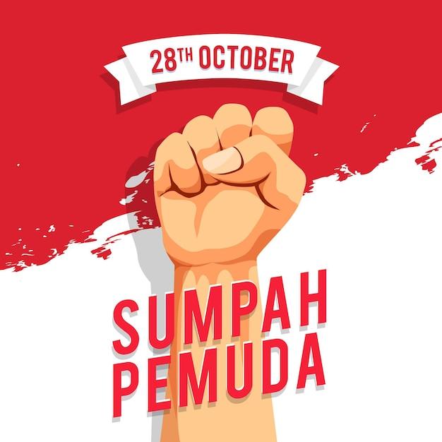 Płaska Konstrukcja Koncepcji Sumpah Pemuda Darmowych Wektorów