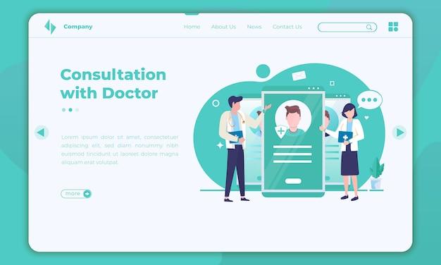 Płaska Konstrukcja Konsultacji Online Z Lekarzami Na Szablonie Strony Docelowej Premium Wektorów