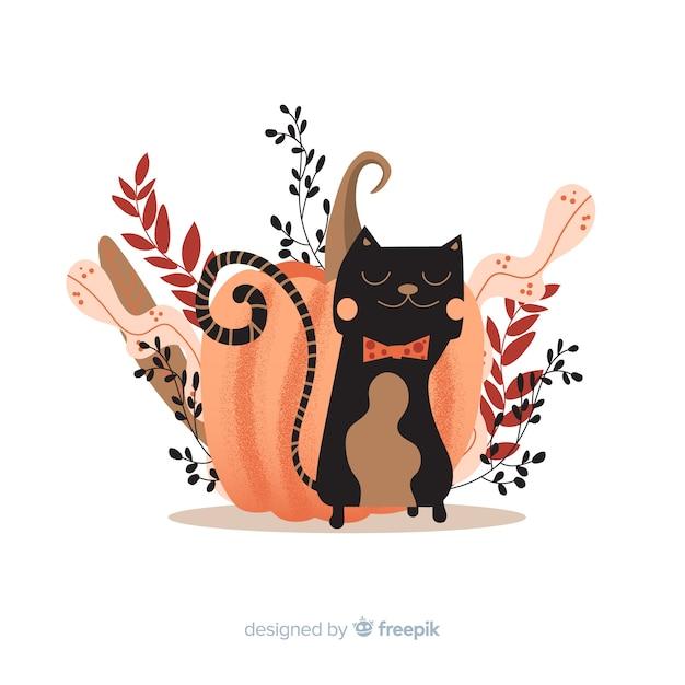 Płaska konstrukcja kota halloween Darmowych Wektorów