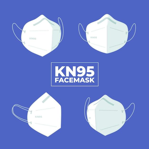Płaska Konstrukcja Maski Na Twarz Kn95 W Różnych Perspektywach Darmowych Wektorów