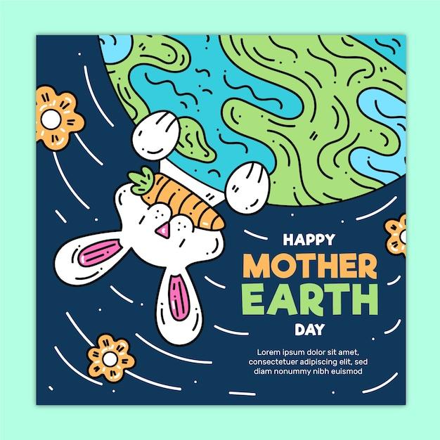 Płaska Konstrukcja Matka Dzień Ziemi Koncepcja Kolekcji Transparent Darmowych Wektorów