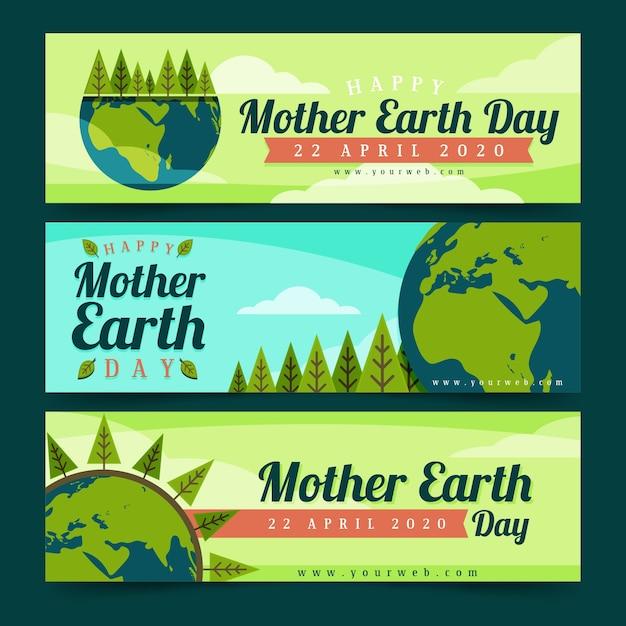Płaska Konstrukcja Matka Dzień Ziemi Zestaw Banner Darmowych Wektorów
