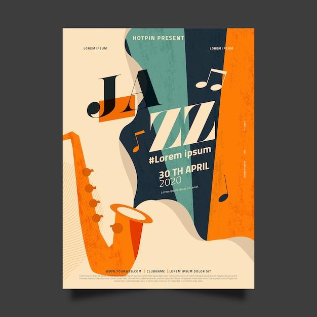 Płaska Konstrukcja Międzynarodowy Dzień Jazzowy Szablon Koncepcji Darmowych Wektorów
