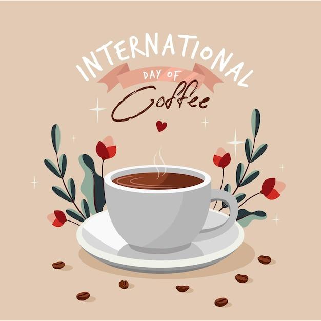 Płaska Konstrukcja Międzynarodowy Dzień Kawy Darmowych Wektorów