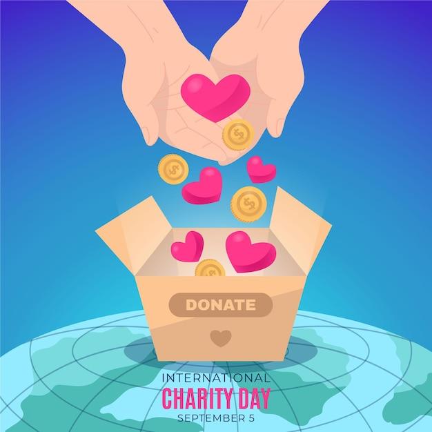 Płaska Konstrukcja Międzynarodowy Dzień Koncepcji Charytatywnej Darmowych Wektorów
