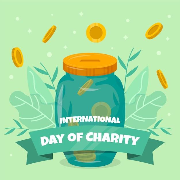Płaska Konstrukcja Międzynarodowy Dzień Miłości Premium Wektorów