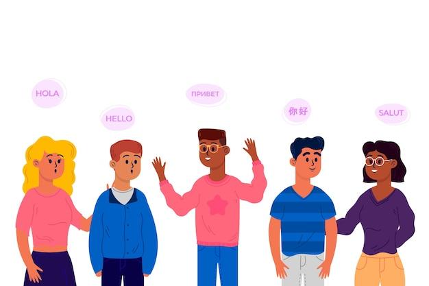 Płaska konstrukcja młodych ludzi mówiących w różnych językach kolekcji Darmowych Wektorów