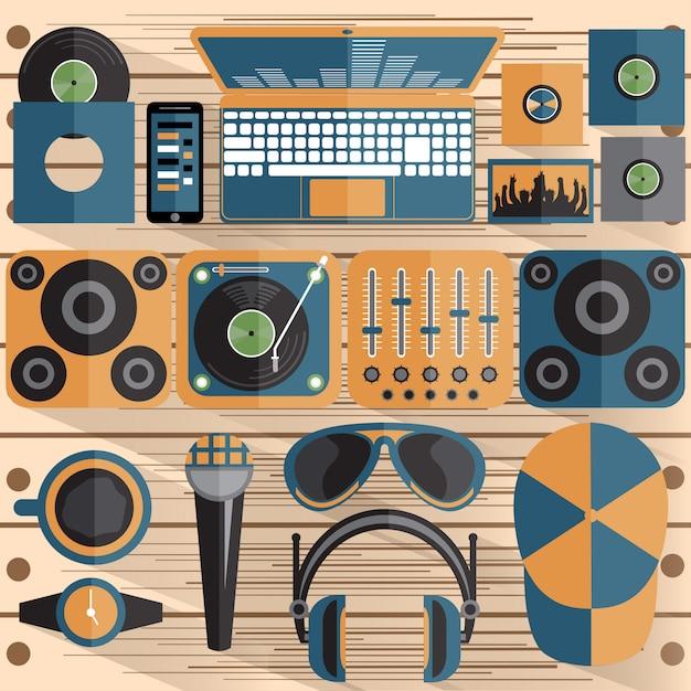 Płaska konstrukcja motywu dj i muzyki Premium Wektorów