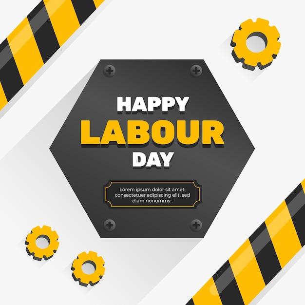 Płaska Konstrukcja Napis Dzień Pracy Darmowych Wektorów