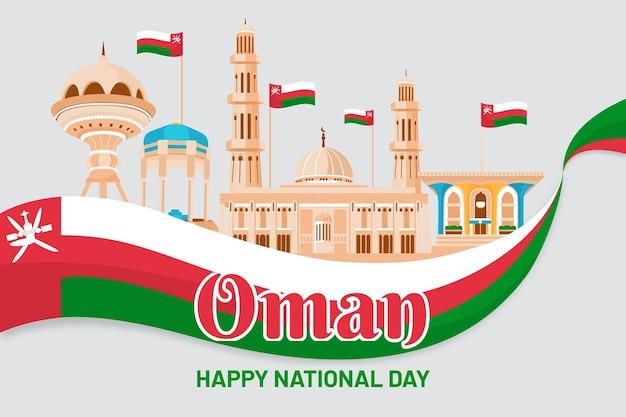Płaska Konstrukcja Narodowego Dnia Omanu Premium Wektorów