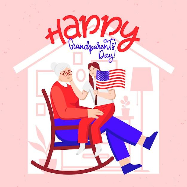 Płaska Konstrukcja Narodowy Dzień Dziadków Usa Darmowych Wektorów