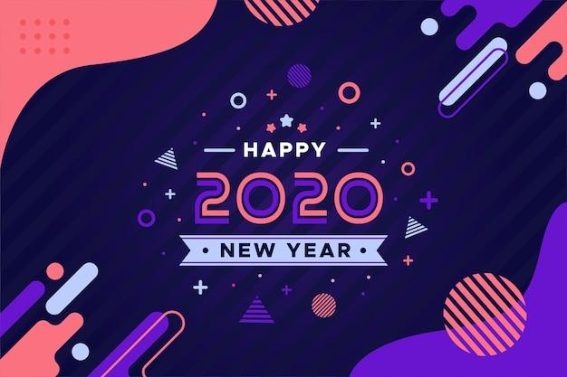 Płaska Konstrukcja Nowego Roku 2020 Koncepcja Tło Darmowych Wektorów