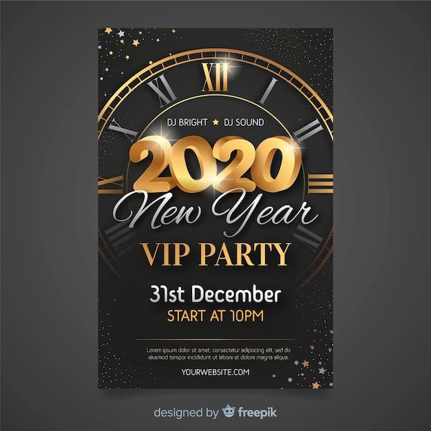 Płaska Konstrukcja Nowego Roku 2020 Plakat Party Szablon Darmowych Wektorów