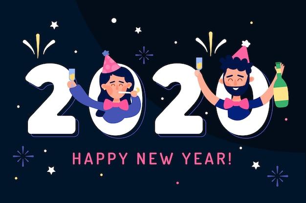 Płaska Konstrukcja Nowego Roku Tło Darmowych Wektorów