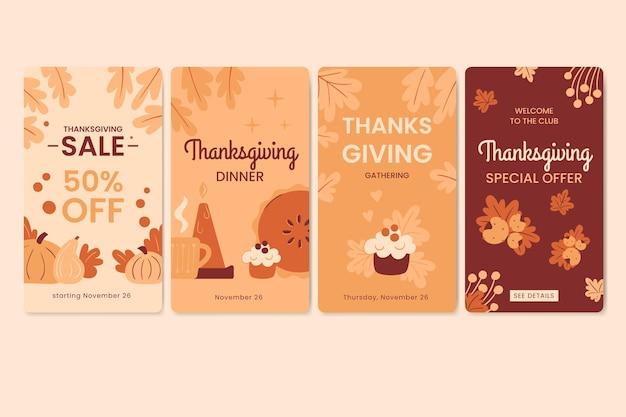 Płaska Konstrukcja Opowiadań Na Instagramie Z Okazji święta Dziękczynienia Darmowych Wektorów