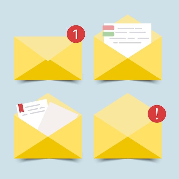 Płaska konstrukcja otwartej i zamkniętej koperty z papierem do pisania. Premium Wektorów