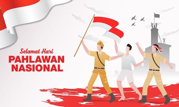 Płaska Konstrukcja Pahlawan Heroes Day Ilustracja Premium Wektorów