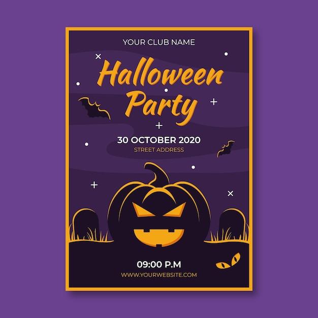 Płaska Konstrukcja Plakatu Halloween Party Z Ilustrowaną Dynią Darmowych Wektorów