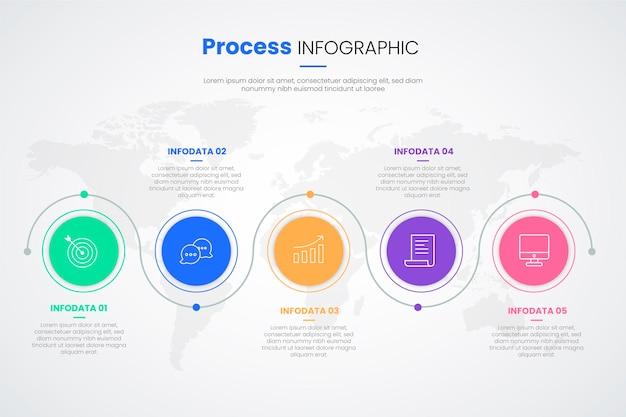 Płaska Konstrukcja Procesu Infographic Szablon Darmowych Wektorów