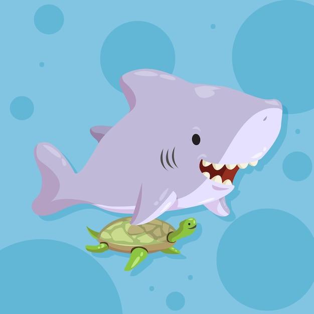 Płaska Konstrukcja Rekina Dziecka Darmowych Wektorów