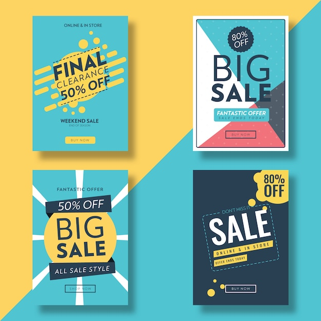 Płaska konstrukcja sprzedaż ulotki i reklama szablon transparent Premium Wektorów