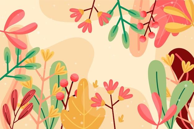 Płaska Konstrukcja Streszczenie Tapetą Z Motywem Kwiatowym Darmowych Wektorów