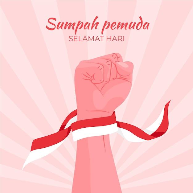 Płaska Konstrukcja Sumpah Pemuda Darmowych Wektorów