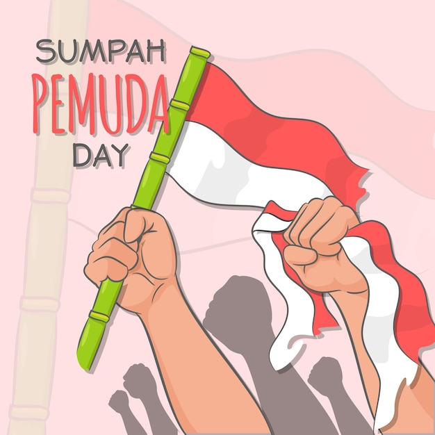 Płaska Konstrukcja Sumpah Pemuda Premium Wektorów