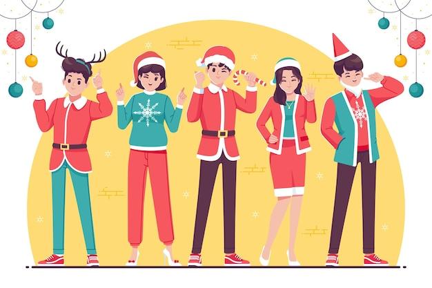 Płaska Konstrukcja świąteczna Kolekcja Postaci Z Kreskówek Premium Wektorów