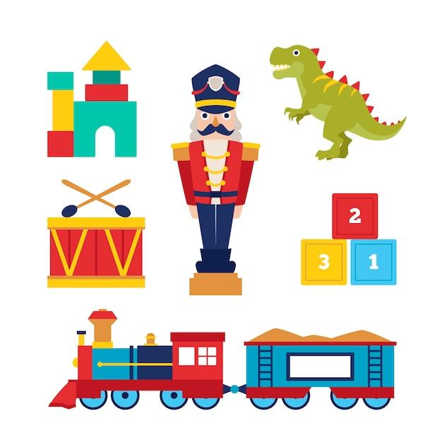 Płaska Konstrukcja świątecznych Kolekcji Zabawek Darmowych Wektorów