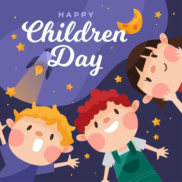 Płaska Konstrukcja światowa Koncepcja Dzień Dziecka Darmowych Wektorów