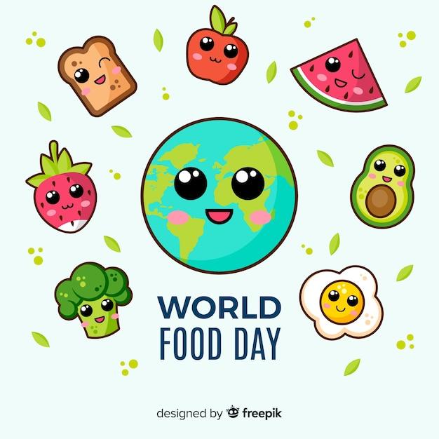 Płaska konstrukcja światowego dnia jedzenia Darmowych Wektorów