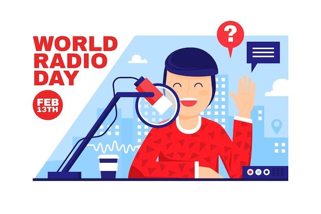 Płaska Konstrukcja światowego Dnia Radia Szczęśliwy Charakter Darmowych Wektorów