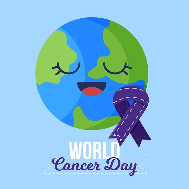 Płaska Konstrukcja światowego Dnia Raka Darmowych Wektorów