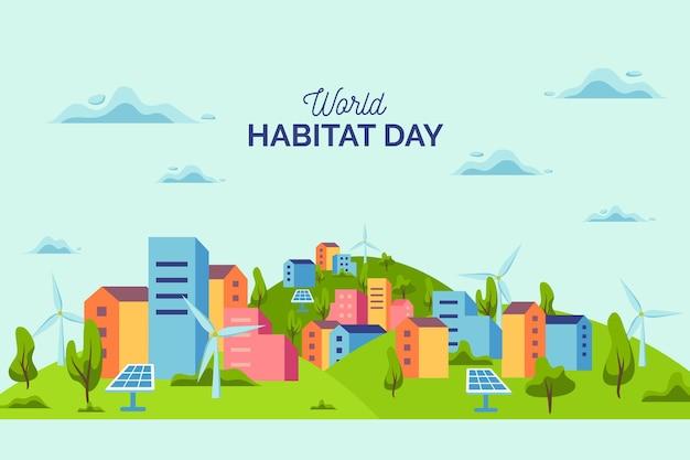 Płaska Konstrukcja światowego Dnia Siedlisk Darmowych Wektorów