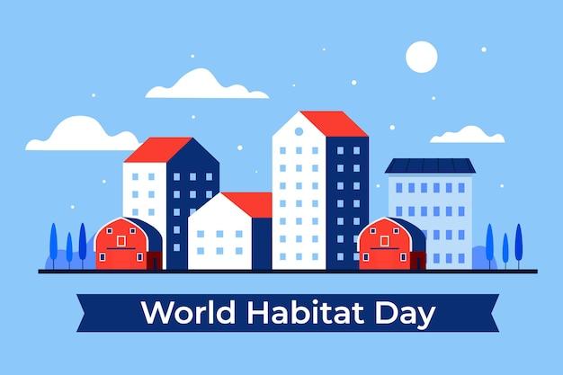 Płaska Konstrukcja światowego Dnia Siedlisk Premium Wektorów