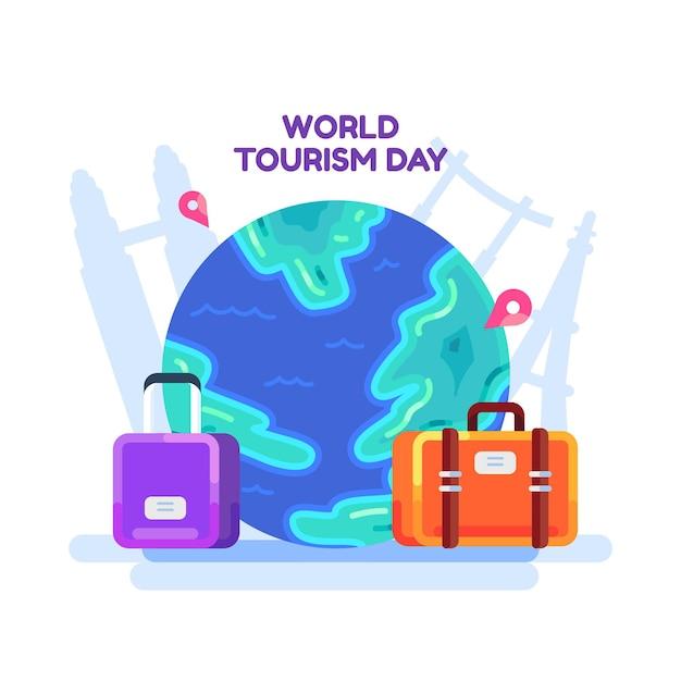 Płaska Konstrukcja światowego Dnia Turystyki Darmowych Wektorów