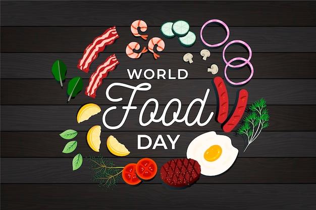 Płaska Konstrukcja światowego Dnia żywności Ilustracja Na Podłoże Drewniane Premium Wektorów
