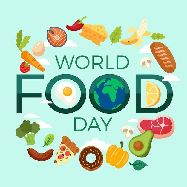 Płaska Konstrukcja światowego Dnia żywności Tło Z Kulą Ziemską Darmowych Wektorów