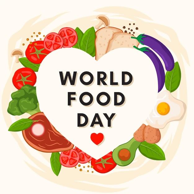 Płaska Konstrukcja światowego Dnia żywności Premium Wektorów