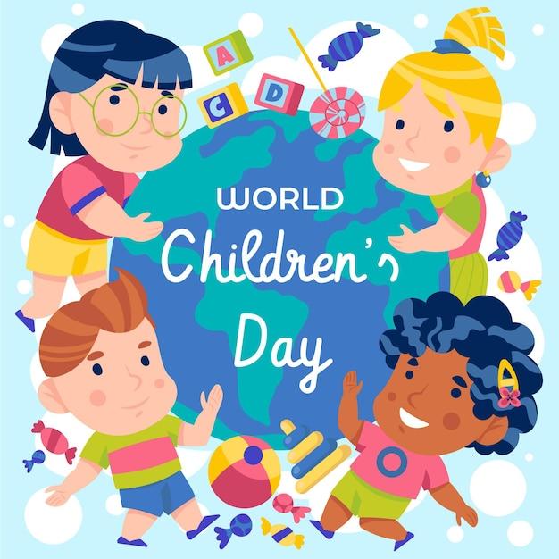 Płaska Konstrukcja światowy Dzień Dziecka Premium Wektorów